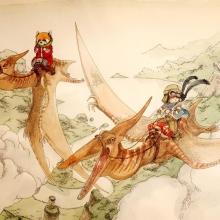 Dessin de boulet représentant deux jeunes aventuriers chevauchant des ptérodactiles