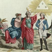 Estampe mélangeant des personnages mythologiques et historiques
