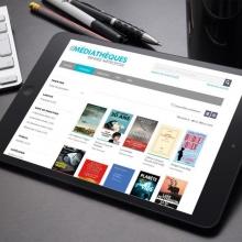 tablette avec à l'écran la page d'accueil de cantook