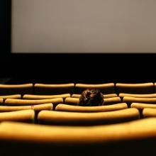 Personne installée dans une salle de cinéma (vue de dos)
