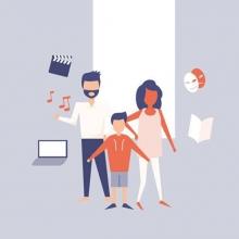 Illustration d'une famille réunie entourée de pictos de documents numériques.