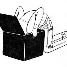 Illustration en noir et blanc d'un personnage la tête plongée dans un carton.