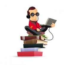 Une personne connectée à des livres avec un appareil audio
