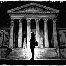 Illustration en nori et blanc d'une silhouette de femme devant une cour d'appel.