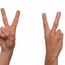 """Deux mains signant la lettre """"V"""" (alphabet LSF), de face et de dos."""