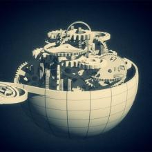 Extrait d'une infographie : un planisphère ouvert dévoilant des mécanismes.
