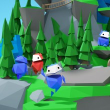 Les héros d'Interland, de petits personnages faits de polygones de couleurs