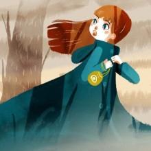 Une planche du conte détaillant Iris, l'héroîne. Cheveux roux, habillée d'une longue cape verte