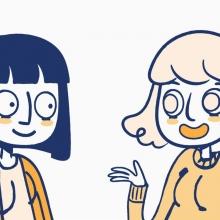 Illustration de deux personnages féminins discutant.