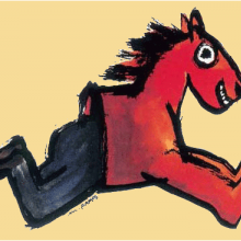 Illustration de Mario Ramos - cheval rouge avec des jambes humaines