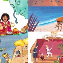 Montage de visuels d'albums de contes emblématiques.