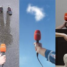 Montage de visuels où un microphone aux couleurs d'Arte Radio est tendu dans différents environnements.