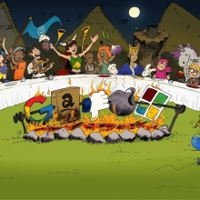 Un dessin parodique de la fameuse scène finale du banquet dans Astérix. À la place de sangliers, les logos des GAFAMS sont en train de cuire à la broche au centre.