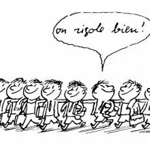 Illustration du Petit Nicolas entouré de ses amis.