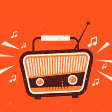 Dessin d'une radio vintage sur fond orange