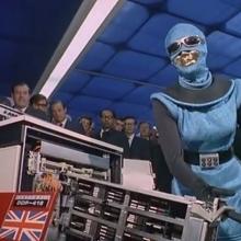 Démonstration publique des capacités d'une androïde (fiction).